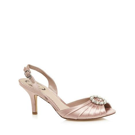 debut pale pink textured satin slingback heeled shoes