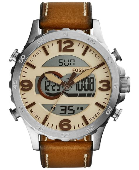 fossil s analog digital nate leather