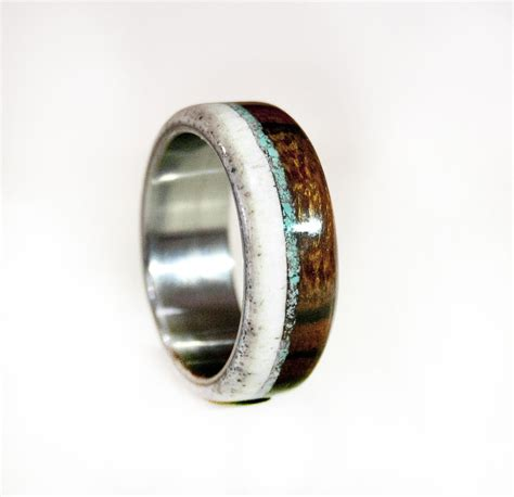 made mens wedding band wood and antler with turquoise