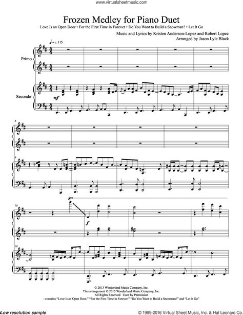 song duet frozen medley for piano duet sheet for piano