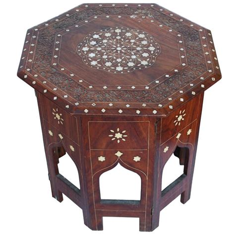 anglo indian octagonal tabouret side table with bone inlay