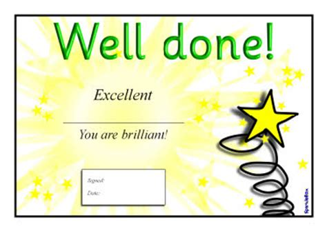 well done certificates sb211 sparklebox