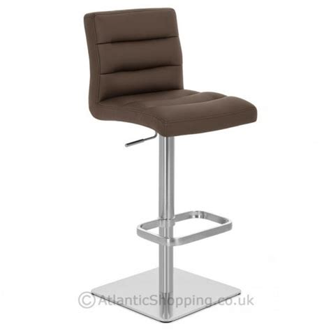Real Leather Bar Stools by Lush Real Leather Brushed Steel Kitchen Breakfast Bar Stool Ebay
