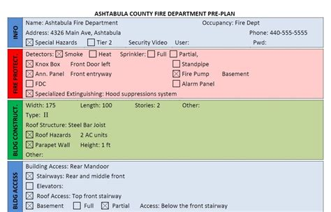Department Pre Plan Template Fire Department Pre Plan Form Using Word