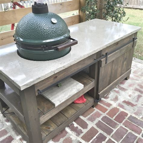 big green egg table plans large with drawers the lowcountry big green egg concrete top table plans