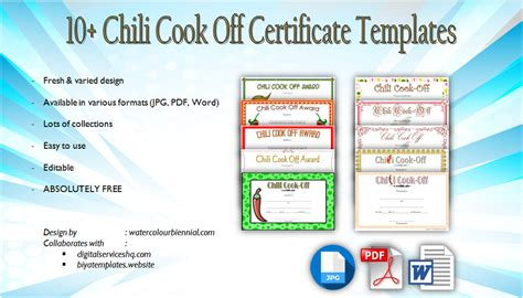 chili cook certificate template chili cook certificate templates 10 new designs free