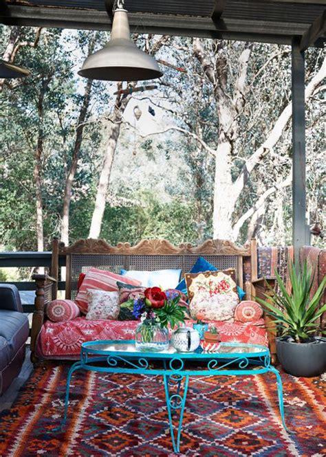 inspiring bohemian porch  colored textiles home