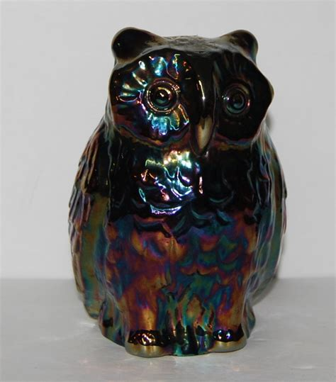 vintage fenton carnival glass owl price reduced