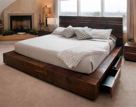 Rustic Platform Bed With Drawers by Rustic Beds Archives Woodland Creek Furniture