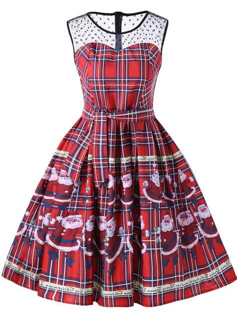 christmas pattern swing dress christmas santa claus sheer swing dress in red 2xl