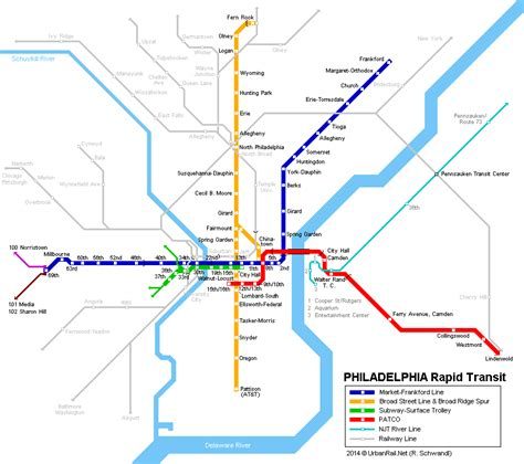 philadelphia subway map map of philadelphia subway el lines and inner portions of commuter rail lines transit maps