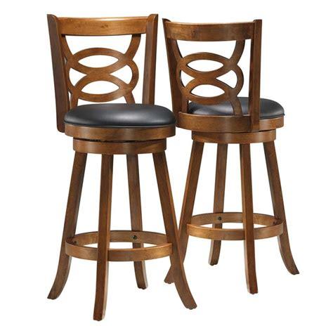 dark oak bar stools 29 quot swivel bar stool in dark oak set of 2 i 1251