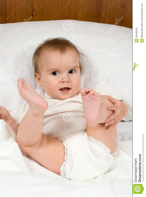 how to make a baby in bed little cute baby in bed royalty free stock image image