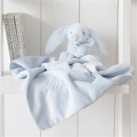 rabbit comforter personalised blue bunny baby comforter by my 1st years