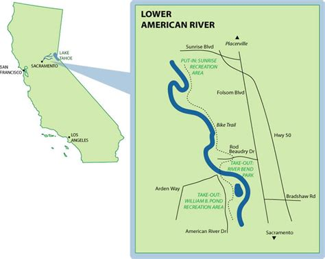 american river california map lower american mile by mile map