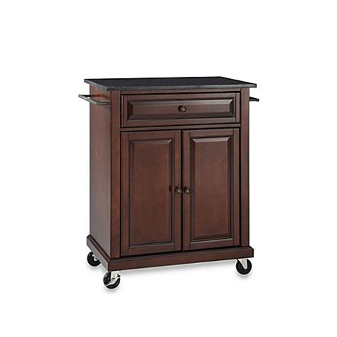 Kitchen Island Cart Granite Top Buy Crosley Black Granite Top Rolling Portable Kitchen Cart Island In Mahogany From Bed Bath