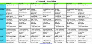 Week 1 piyo meal plan based on 1 900 calories