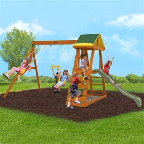 wooden outdoor swing set big backyard madison wooden swing set box 1 of 2