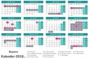 Kalender 2018 Feiertage Und Ferien Ferien Bayern 2018 Ferienkalender 220 Bersicht