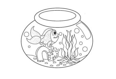 coloring pages fish bowl fish bowl coloring page coloring home