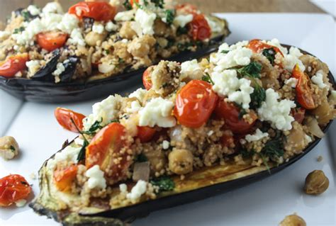 stuffed eggplant couscous stuffed eggplant with tomatoes and feta dishing