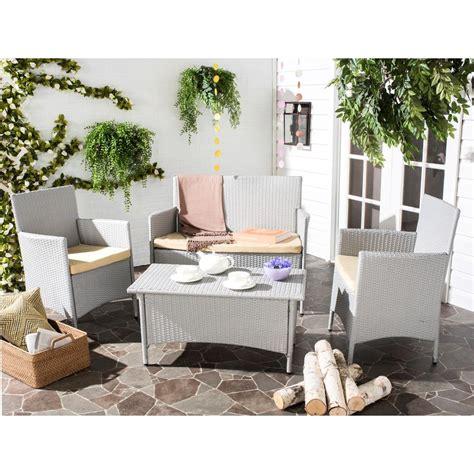 Safavieh Mojavi Gray 4 Piece Wicker Patio Seating Set with