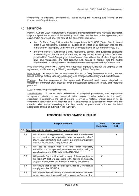 Quality Agreement Letter Analytical Quality Agreement Template
