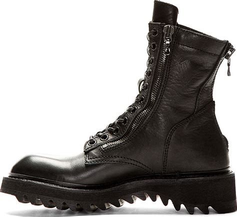 black leather combat boots for julius black leather zipped combat boots in black for