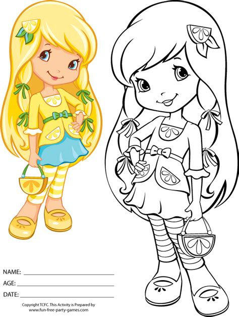 coloring pages strawberry shortcake lemon meringue