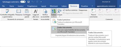 tradurre un testo tradurre il testo in una lingua diversa supporto di office