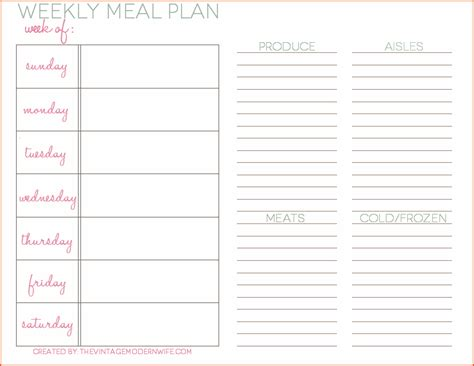 food planning template 8 weekly meal planner template bookletemplate org