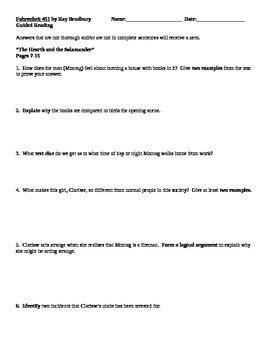 Fahrenheit 451 Worksheet by Fahrenheit 451 By Bradbury Guided Reading Worksheets