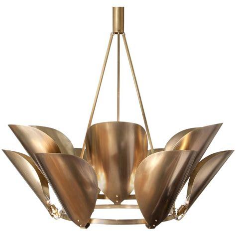 Metal Chandeliers Petal Brass Metal Chandelier For Sale At 1stdibs