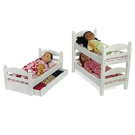 18 Inch Doll Bunk Bed With Trundle 18 Inch Doll White Detachable Trundle Bunk Bed Furniture Made To Fit American Or