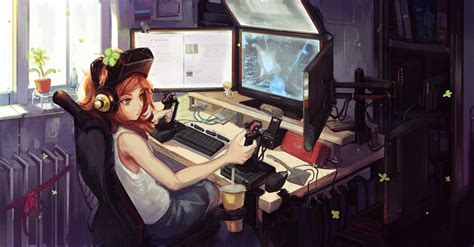 imagenes anime gamer anime gamer girl wallpapers 68 images