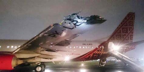 batik air vs transnusa pesawat batik air dan transnusa tabrakan di bandara halim
