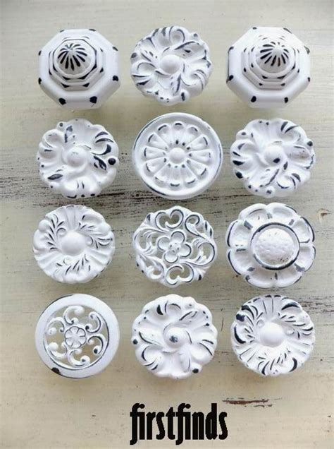 12 misfit knobs shabby chic white kitchen reno cabinet pulls vintage pantry reclaimed bathroom