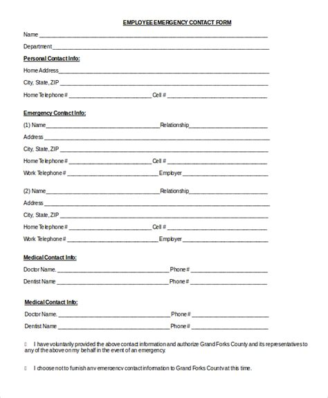 8 Sle Emergency Contact Forms Pdf Doc Sle Templates Free Emergency Contact Form Template For Employees