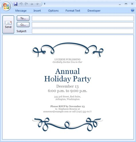 microsoft outlook christmas templates for holiday party