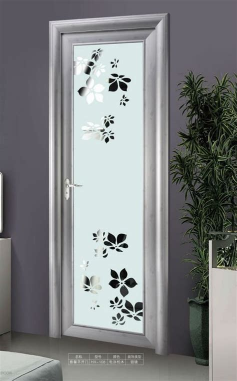 Customized Wall Stickers interior aluminum decorative glass toilet door view