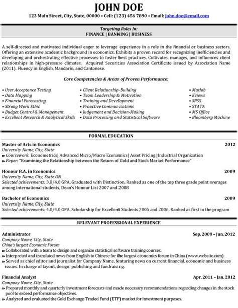Resume Exles Business Student 10 Best Images About Best Banking Resume Templates Sles On Click Exles And