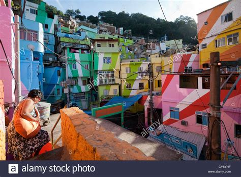 buying a house in brazil colourful houses in dona santa marta favela rio de janeiro brazil stock photo royalty
