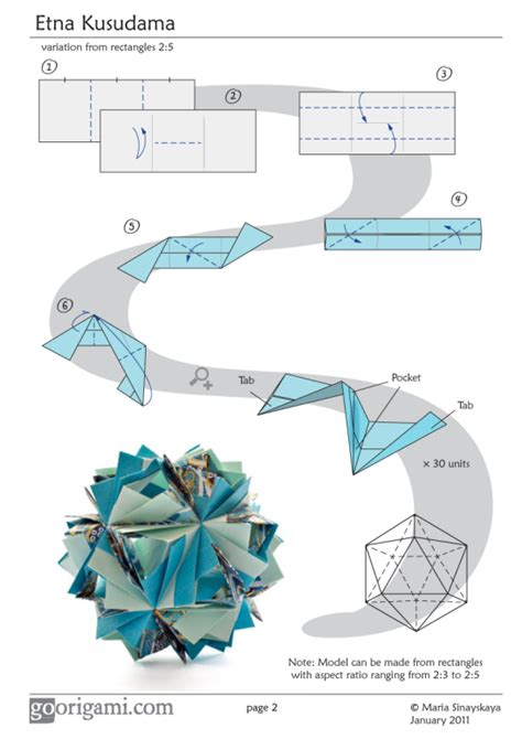 Origami Book Diagram - etna kusudama by sinayskaya diagram go origami