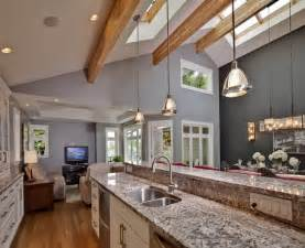 vaulted ceiling lighting kitchen home design ideas