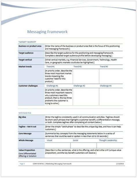 marketing messaging framework template clickstarters