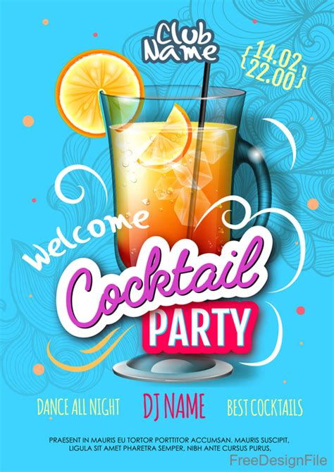 Cocktail Party Flyer Template Free welcome cocktail flyer template vector 08 free