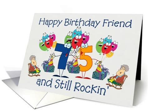 Happy Birthday Friend (female)   75 and Still Rockin' card