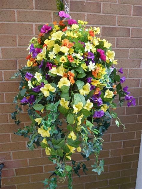 15 best artificial flower hanging baskets images on