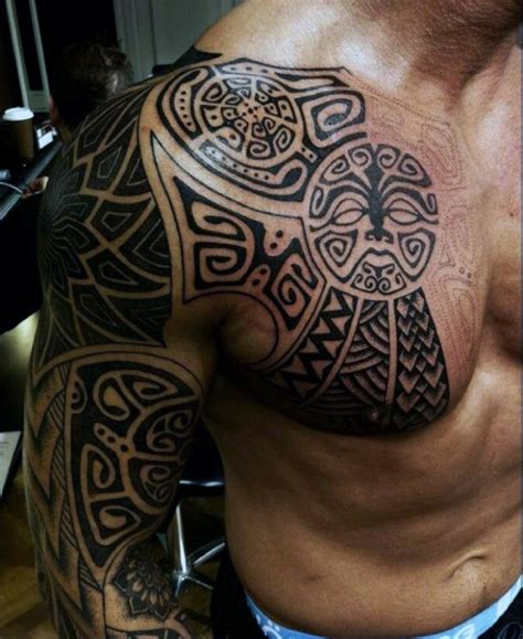 tribal chest and half sleeve tattoo 90 tribal sleeve tattoos for manly arm design ideas