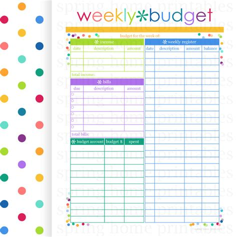 printable planner pages etsy weekly budget budget planner printable by springhomeprintables